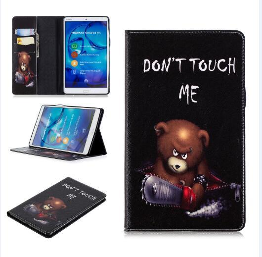 """Personality pattern wallet case fold bracket tablet cover for Huawei m5 8.4"""" tablet leather suit purse style foldable."""