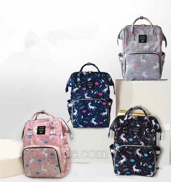 Mamá Mochilas Bolsas de pañales Bolsas de pañales Unicornio Mochila de maternidad Gran volumen Bolsas de viaje al aire libre Organizador libre DHL FEDEX MPB28
