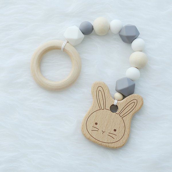 Wood Silicone Beads Baby Teether Baby Rattle Stroller Accessories Toys Baby Bracelet Animal Shaped Jewelry Teething
