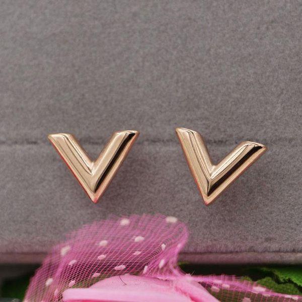Moda nuevos aretes en forma de V de titanio Acero 18k aretes de oro rosa joyas para damas superventas bestseller