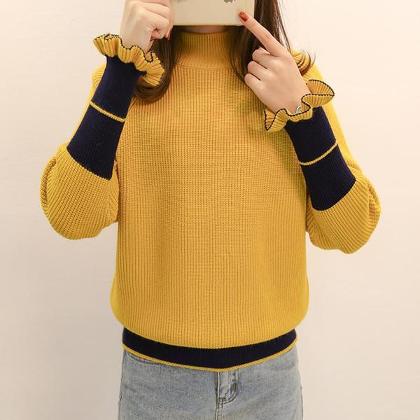 Los suéteres sueltos de alta calidad para mujeres con cuello medio y mangas de hojas son adecuados para los suéteres delgados de las mujeres