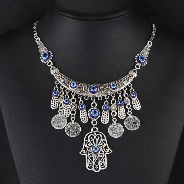 Vintage Silver Color Statement Necklaces For Women 2019 Fatima Eye Hand Tibetan Pendants Ethnic Jewelry Maxi Accessories YMCJN037
