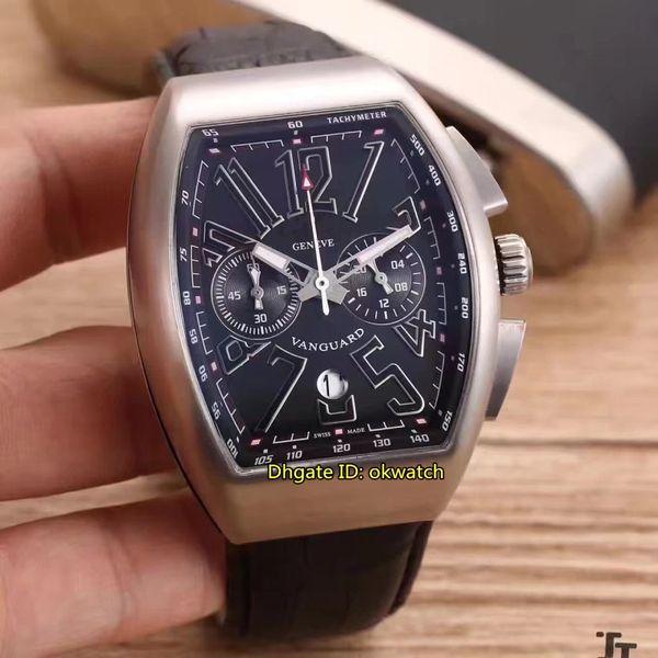 6 style High quality watch Men's Collection Vanguard V 45 CC DT VK Quartz Chronograph Mens Watch Black Dial Leather Strap Gents Watches