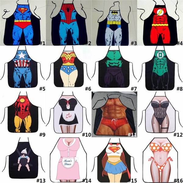 top popular Funny Cooking Kitchen Apron Sexy Dinner Party Baking Apron delantal cocina For Woman And Man delantales BBQ Party Cartoon Aprons H0008 2020
