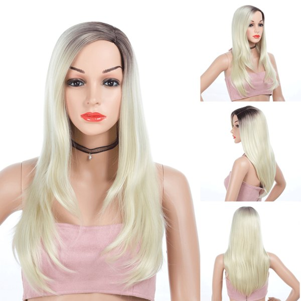 Ombre Blonde Straight Fashion Women Long Synthetic Hair Cheap Side Bang Chemical Headgear Dyed Partial Fiber Wig