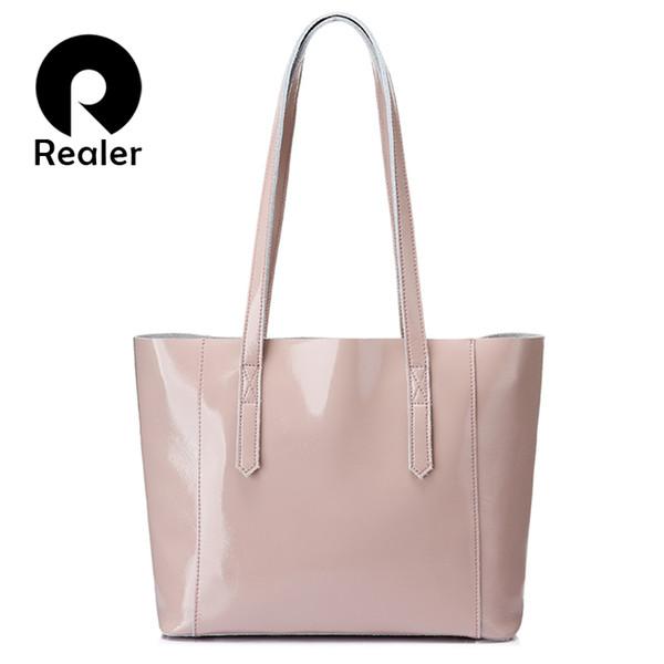 REALER Shoulder Bag Women Soft Patent Leather Tote Bag Female Large Crossbody Messenger Bags Scratch Resistant Design Handbag