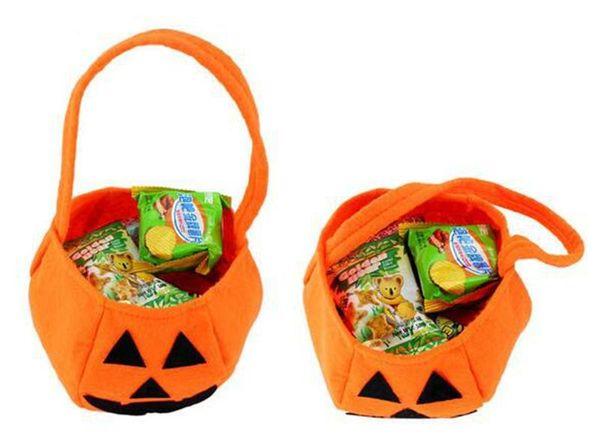 378d97e134 Smile Face Pumpkin Candy Handbag Trick or Treat Pumpkin Tote Bag Halloween  Party Children kids Favors candy Collection Handbags