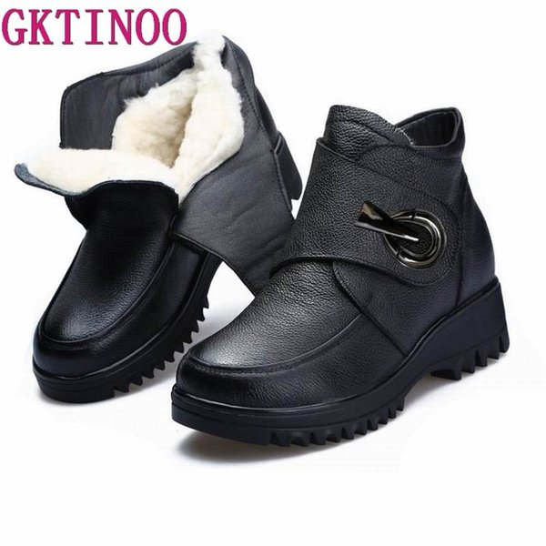 GKTINOO Thick Wool Women Snow Boots 2019 Genuine Leather Waterproof Wedges Ankle Boots For Women Winter Warm Platform Shoes
