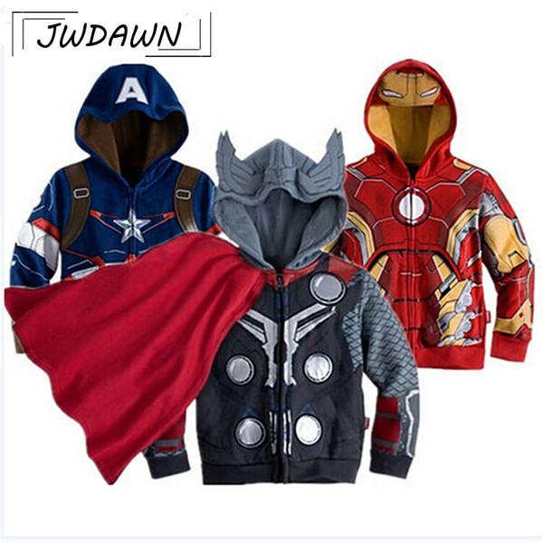 Superheld Jungen Sweatshirts Iron Man Hulk Kapitän Spiderman 2018 Frühling Jungen Kleidung Oberbekleidung Kinder Kleidung Pullover 2-7Y Y1892907