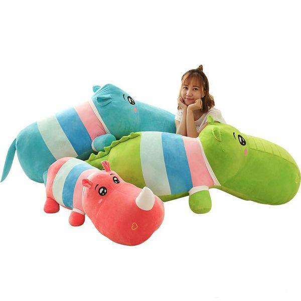 pop cartoon Rhinoceros bambola peluche gigante ippopotamo cuscino coccodrillo cuscino per la ragazza regalo decorazione 120 cm 140 cm 160 cm