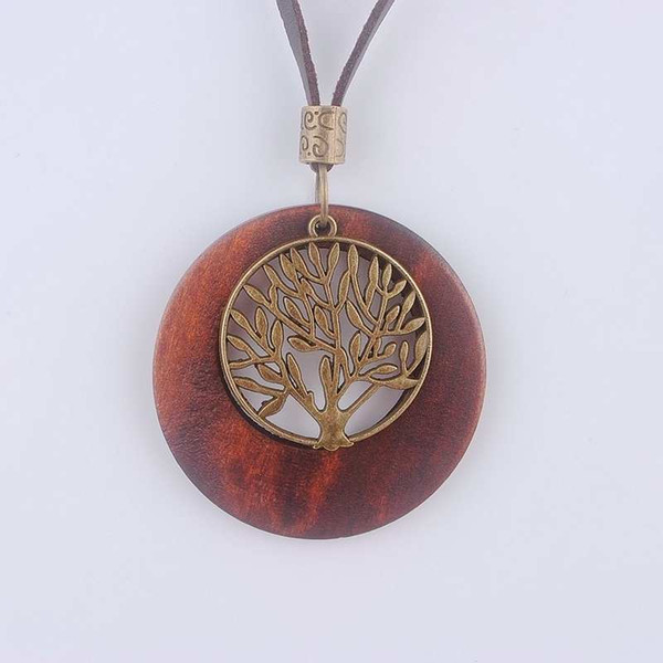 Maxi necklace Vintage necklaces pendants Women Jewelry Fashion choker necklace Alloy Life Tree Wooden Pendant Necklace Wood