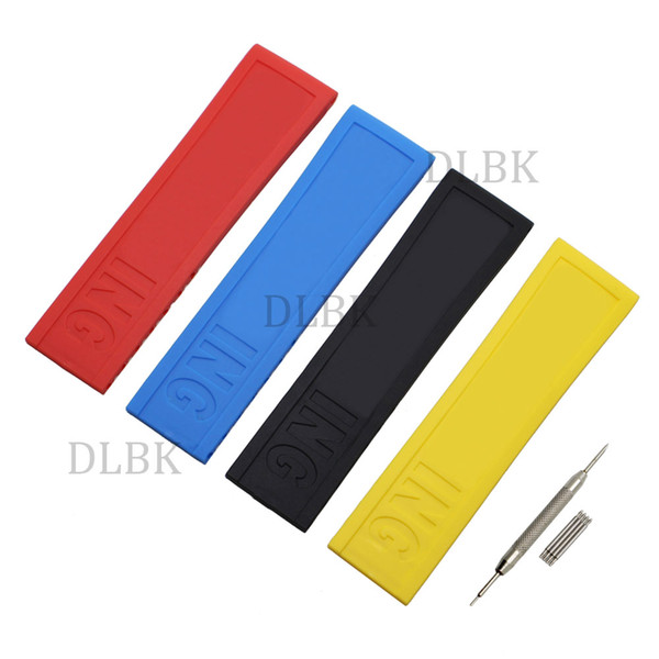 best selling 22mm 24mm Black Blue Red Yellow Hole Section Sport Bracelet Silicone Rubber Watch Band Strap Without Buckle for Breitling +Tools