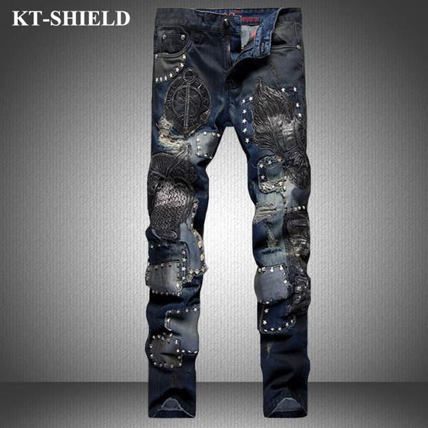 Winter Ripped Jeans Men Fashion Brand Slim fit Denim Trousers Distressed Pants Men Vaqueros Hombre Printed Casual Harem Pants