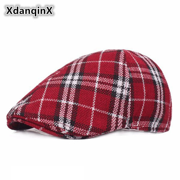 XdanqinX Women's Plaid Retro Berets British Fashion Sun Visor Cap For Adult Women Sombrero De Mujer Female Brands Vintage Caps
