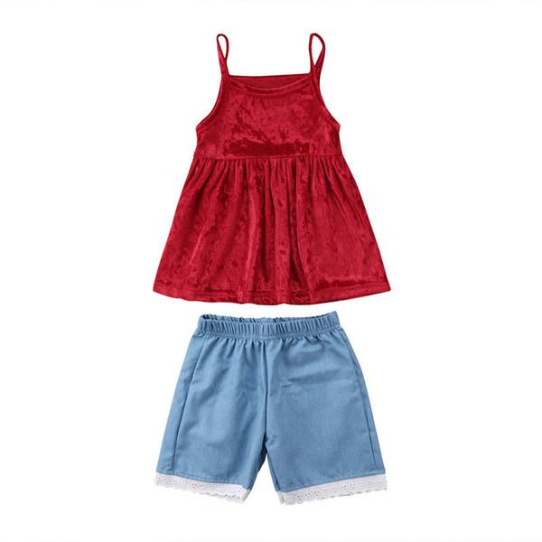 Toddler Kids Baby Girls Velvet Tank Dress Short Lace Pants Clothes Set Summer Sundress Candy Color Solid Simple Cute Sweet Dress