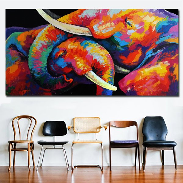 1 Piece Watercolor Animal Art Elephant Lovers Canvas Paintings Wall Art Prints Printing Posters Picture For Living Room Home Decor No Framed