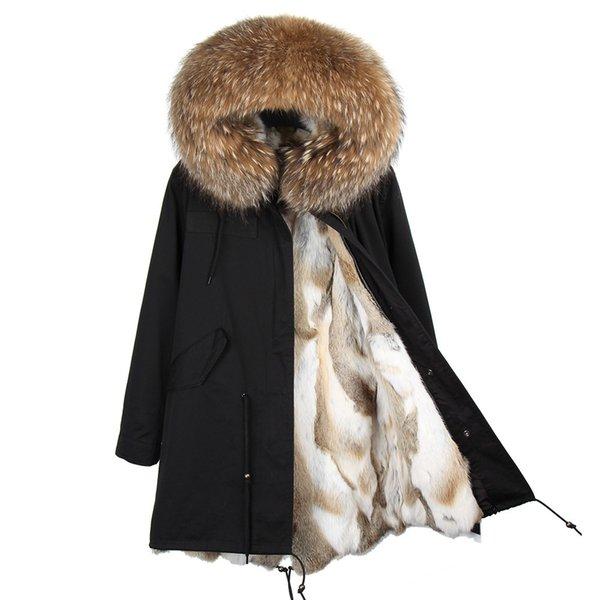 mao mao kong fashion women's real rabbit fur lining winter jacket coat natural fox fur collar hooded long parkas outwear dhl 5-7 y18101, Black;brown
