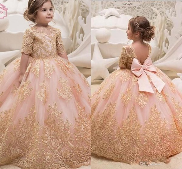 2018 Princess Gold Appliques Pink Flower Girl Dresses Jewel Neck Half Sleeves Tulle Ball Gown Girl Pageant Party Dress With Bow
