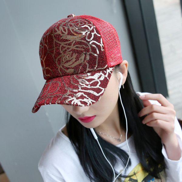 Summer New Pattern Adult Male Peaked Cap Rose Paillette Baseball Cap Hats Women Sunscreen Sunshade Gauze Lovers Hats