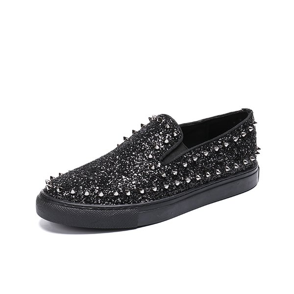 72d7b9d28a Fashion Luxury Brand Red Bottom Sequins Men Shoes Casual Bar Handmade  Microfiber And Flock Slip On Studded Spikes Flats Shoes Vegan Shoes Comfort  ...