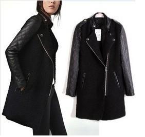 All'ingrosso-Nuovo PU donne giacca in pelle nero agnello cuciture cappotto manica soprabito manica patchwork Coatsplicing