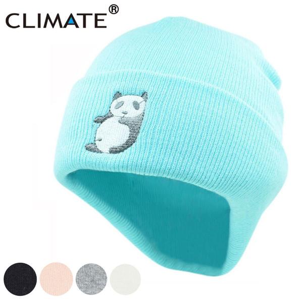 CLIMATE Panda Beanie Hat Women Girls Winter Warm Hat Lovely Cute Warm Hip Hop Knitted Beanie For Adult Women Girls Teenagers