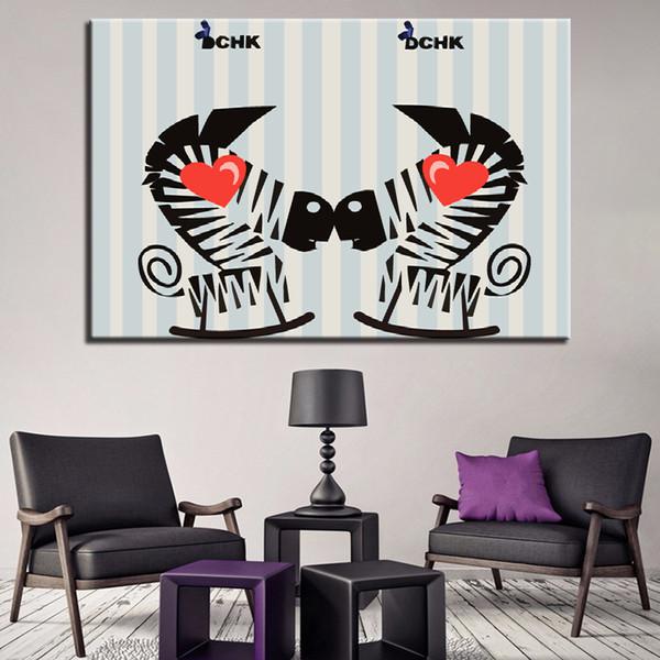 Canvas HD Prints Pictures Wall Art Home Decor 1 pezzo / pezzi Charming Love Zebra Paintings Poster del fumetto per la struttura del soggiorno