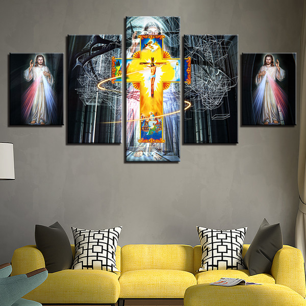 5 Pieces Jesus Canvas Painting Home Decor Christ Cross Abstract Oil Painting HD Print Wall Poster Art Painting Church Sticker Frameless