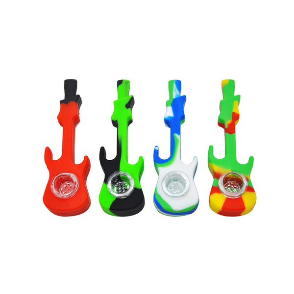 Mini Guitar Shape Silicone & Glass Pipe Tobacco Smoking Pipe Detachable Hand Pipe A Good Sealing(Random Color)