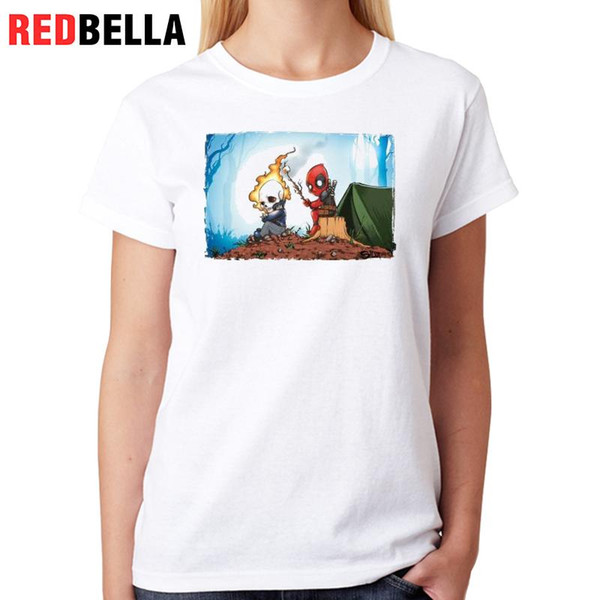 Women's Tee Redbella Funny T Shirt Women Parody Usa Comics Graphic Tees Super Hero Cute Cartoon Anime Figures Printed Casual Cotton Tops
