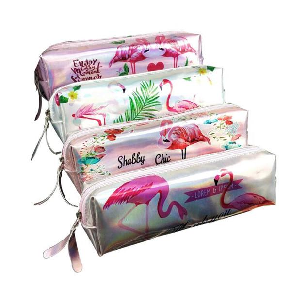 4 Styles Laser Pencilcase Flamingo Pencil Bag Cartoon Pen Bag Student Stationery Gift Office Supplies Pencil Bags Kids Purse CCA10567 60pcs