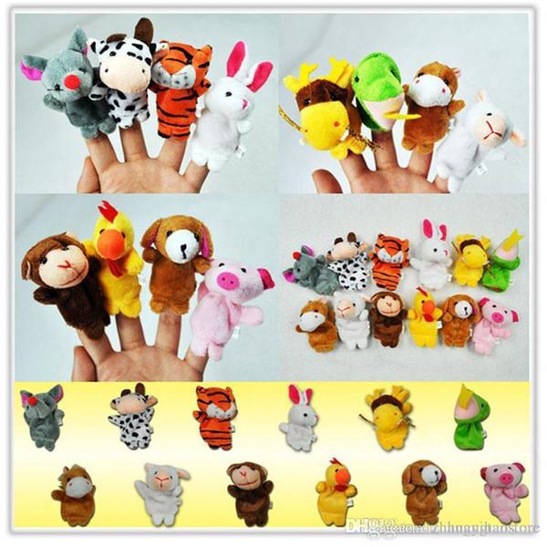 Zodiaco all'ingrosso-cinese 12pcs / lot animali del fumetto dito biologico puppet giocattoli di peluche bambole bambino bambola dito di favore di bambino