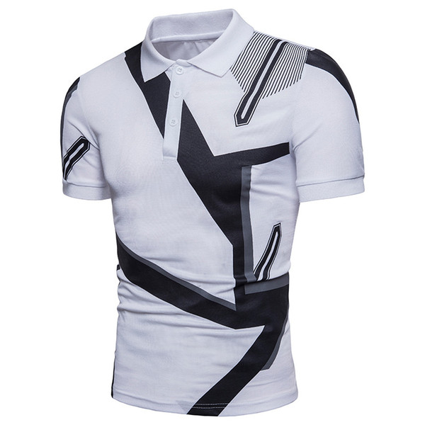 HANA+DORA Mens Short Sleeve Leopard Silm Fit Casual Polo Shirts Turn Down Collar T-Shirts