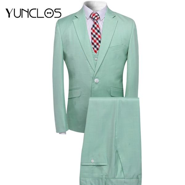YUNCLOS 2018 New Men Suit 3 Pieces Party Dress Tuxedo Latest Coat Pant Designs Slim Fit Fashion Style Men Suit with Pant