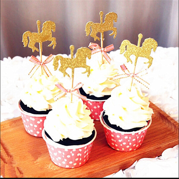 5pcs Horse Cupcake Topper With Bow Tie Glitter Gold Carousel Wedding Birthday Party Cake Decoration DIY Handmade Cake Decor
