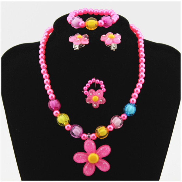 Cute Kids Flower Necklace Bracelet Rings Earrings Jewelry Set Imitation Pearls Beads Beaded Jewelry Children Girls Xmas Gifts
