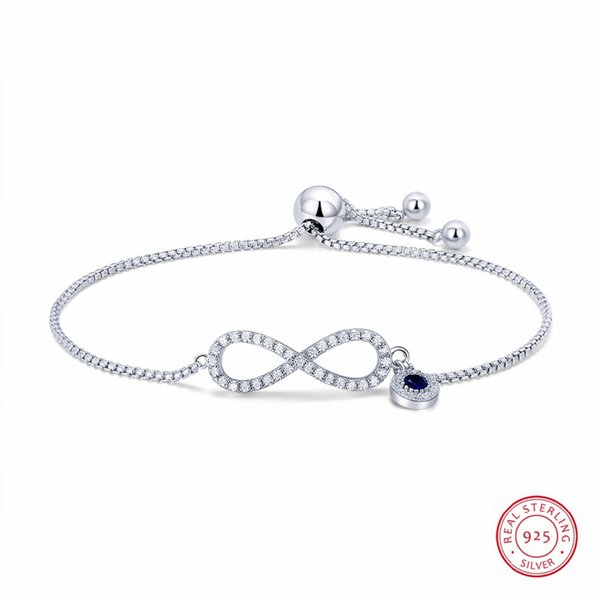 100% Authentic New Women Infinity Charm Bracelet 925 Sterling Silver Crystal Charm Bracelet For Women Wedding Jewelry Gift