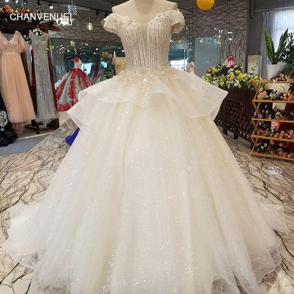 2019 Latest Design Lebanon Wedding Dresses Illusion Deep V Neck Backless Cascading Ruffles Backless Shining Sequins Garden Bridal Gowns