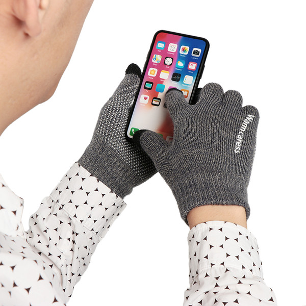 Winter Men Fashion Knitted Gloves For Phone Screen High Quality Male Thicken Warm Wool Cashmere Solid Gloves Men Mitten Business