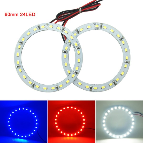 2pcs/lot 80mm Car Angel Eyes 1210/3528 24SMD LED Headlight Halo Ring Angel Eye Lighting White Red Blue #2668