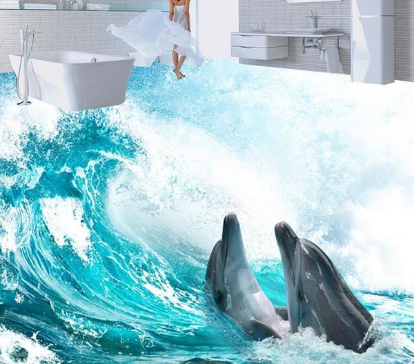 Compre Hd 3d Ocean Surf Piso Baldosas Tridimensional Pintura Diseño 3d Pvc Wallpaper Para Baño A 5026 Del Wallpaper2018 Dhgatecom