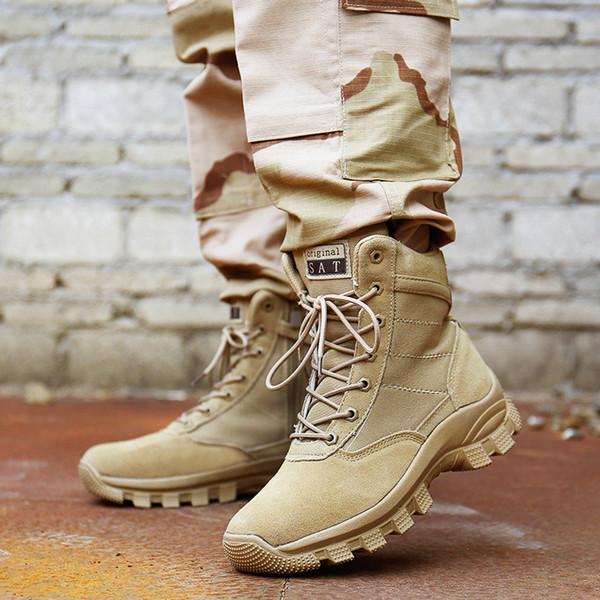Compre Hombres Botas Militares Marca De Calidad Fuerza Especial Táctico Desierto Barcos De Combate Zapatos Al Aire Libre Botas De Nieve De Cuero