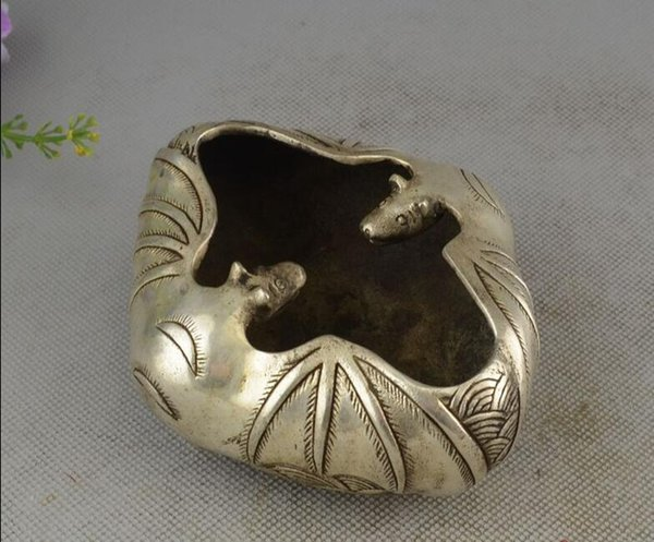 Antiques Collection Silver Nickel Silver Plated Feng Shui Decorations Home Furnishing Lotus Wu Fu Pen Wash