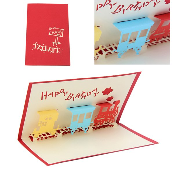 3D Train Greeting Card Pop Up Paper Cut Postcard Birthday Valentines Party Gift