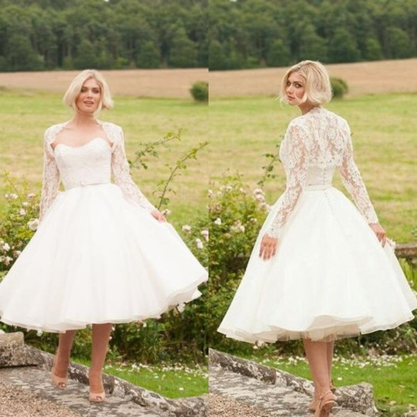 2018 Cheap A Line Short Country Wedding Dresses Curver Strapless Short Wedding Gowns With Lace Jacket Simple Bridal Gowns Plus Size