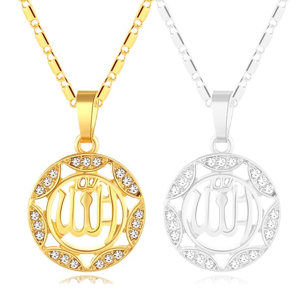 New trendy Women Middle Eastern Islamic Religious Muslim Round small necklace/neck chain for Gold/Silver color Arab jewelry gift Bijoux