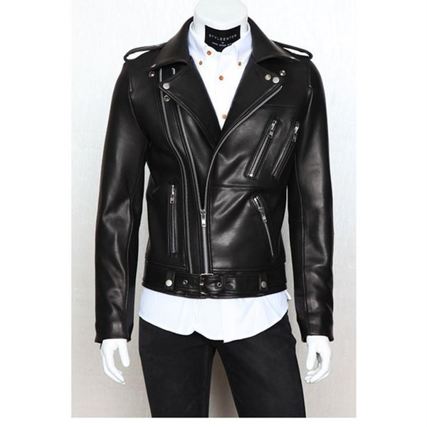 Mens Motorcycle PU Leather Garment Casual flocking Men's Clothing Jacket Men Multi zipper slim PU leather design lapel tops