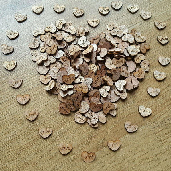 Rustic Wooden Love Heart Table Scatter Wooden Confetti Party Supplies Marriage Wedding Decorations Crafts Card 100pcs/bag