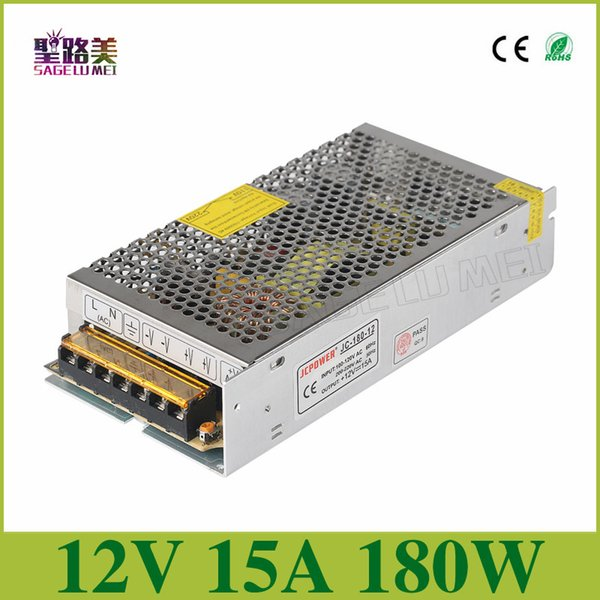 бесплатная доставка 1 шт. / лот DC12V 15A 180W led универсальный регулируемый импульсный трансформатор питания для RGB светодиодные ленты
