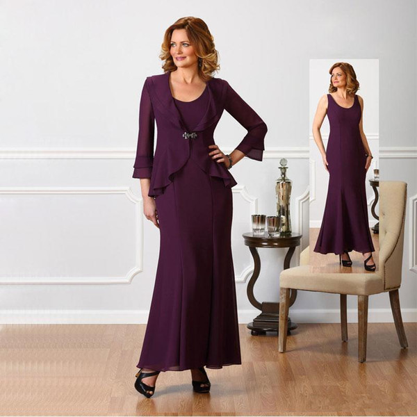 2018 Grape Elegant Mother of the Bride Suits Dresses Long Sleeves Two Pieces Jacket Ankle Length Wedding Party Evening Gowns